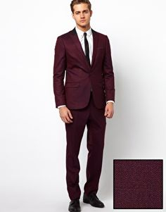 ASOS Skinny Fit Tuxedo Suit Jacket in Burgundy Polywool | His Fit ...