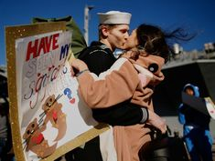 (AP) — Sailing on the USS Dwight D. Eisenhower, Lara Runge placed a rare phone call to her wife Jessica in Chesapeake, Virginia, on Election Day. The Virginian, The Middle, Middle East, Berlin Christmas Market, Naval Station Norfolk, Aviation Insurance, Pilot Quotes, Significant Otter