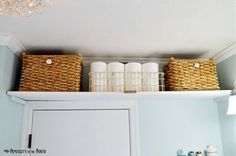 One Great Idea: Squeeze a Little Extra Storage Out of Any Room in Your Home | Apartment Therapy That last one might help with the bathroom storage thing. A shelf and some baskets could help store extra toilet paper and such so you have my cabinet space. Again don't know what the restrictions are on hanging stuff.
