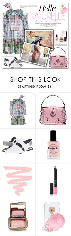 """""""How to Style a Multicolor Gingham Dress with a Pink Bag, Black and White Shoes and Pastel Makeup"""" by outfitsfortravel ❤ liked on Polyvore featuring Peter Pilotto, Coach, Burton, Camper, Lauren B. Beauty, NARS Cosmetics, Hourglass Cosmetics and Ashlyn'd"""