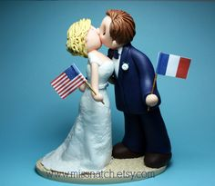 White Navy Blue American French Wedding Cake Topper by www.missnatch.etsy.com