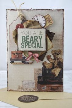 """""""You Are Beary Special"""" Kaiser products used : Paper pad / Collectables / Ink / Paper / Stickers S. Linda Thompson, Picnic Ideas, Teddy Bears, Mini Albums, Card Ideas, Card Making, Scrapbook, Collections, Creative"""