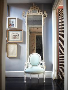 icy blue and white with filigreed mirror ~ Miles Redd design with photo by Paul Costello