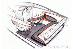 Sketching, boat interior, seat