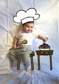 Olivia de Mayor Quiere ser Chef. Fotografia & Ilustración Creativa de bebés y niños soñadores. bebé baby