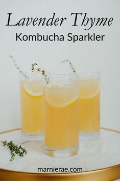 nonalcoholic summer drinks Made with lavender thyme kombucha from Iggys Alive and Cultured, the Lavender Thyme Kombucha Sparkler is an easy nonalcoholic drink you'll want to add to your spring menu. Easy Mocktail Recipes, Summer Drink Recipes, Iced Tea Recipes, Cocktail Recipes, Healthy Recipes, Bar Recipes, Healthy Food, Party Food And Drinks, Fun Drinks
