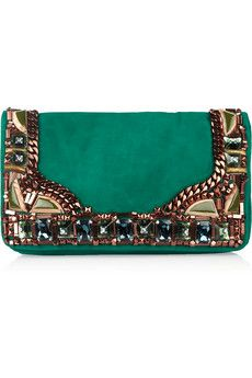 Matthew Williamson Embellished Emerald Green Suede Clutch Bag