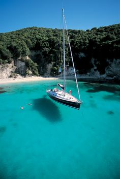 Kalokeri anchored of Anti Paxos Greece want to do this .... swim in the shallows and travel by yacht..