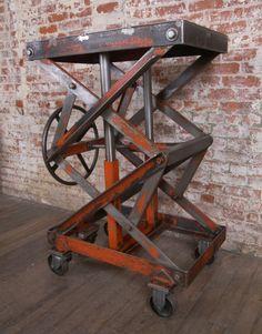 Vintage Industrial Adjustable Steel Scissor Lift Cart / Table image 5