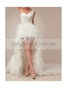 wedding dress with feather like high low skirt wd