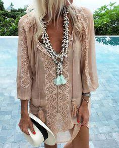 dress, necklaces, chiffon, bohemian, bohochic, hippie