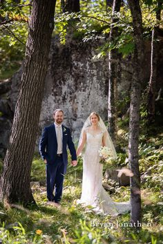 Bride and groom portrait in the forest.