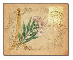 Paris Floral Pink flowers Eiffel Tower French by MomentsOfArt, $19.00