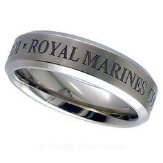 Geti Flat Titanium Royal Marines Ring