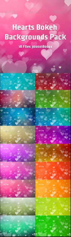 Hearts Bokeh Backgrounds Pack