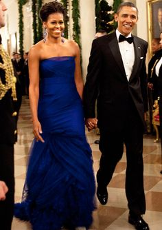 2011 - Michelle Obama was the belle of the ball in a strapless custom Vera Wang tulle gown with a feathered organza train for the 34th Annual Kennedy Center Honors.