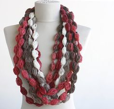 Color of the year :) #Marsala Crochet infinity scarf multicolor white by violasboutique on Etsy