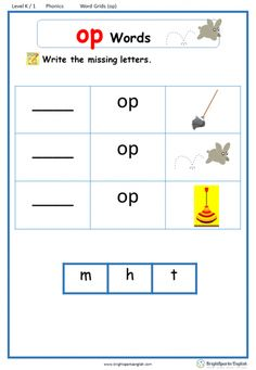 Word Family Word Grids – Page 2 – English Treasure Trove Grade 1 Reading Worksheets, Creative Writing Worksheets, Vocabulary Worksheets, Preschool Worksheets, English Phonics, English Grammar Worksheets, English Vocabulary, Phonics Words, Cvc Words
