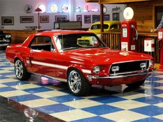 68 Ford Mustang GT/CS (California Special) Red Hot!  I had one like this with the turn signals in the hood...my all time favorite car <3