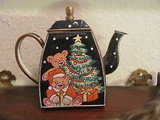 Sweet Miniature Mini Teapot Teddy Bear Christmas Enamel and Brass
