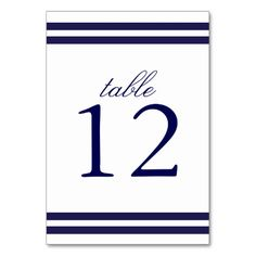 Navy Striped Table Number Card