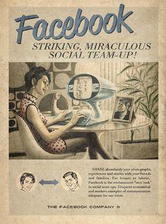 Publicités vintage pour Twitter, Facebook, Youtube et Skype facebook retro vintage pub 01 design