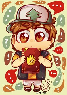 Awwwwwwwwww whittle chibi Dip I'm gonna die! <3 look at those precious eyes and that innocence!!!!!! And he has! 13 on his journal cause that's how old he is AWEE!!!!!!!!!!!!!!!!!!