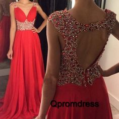 Long prom dress, ball gown, Unique coral chiffon sequin prom dress for 2016 #coniefox #2016prom