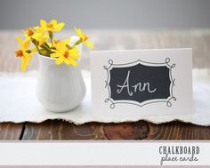 Hundreds of Free Wedding Templates for DIY Brides: Wedding Place Card Templates Printable Place Cards, Place Card Template, Card Templates, Chalkboard Printable, Wedding Printable, Chalkboard Paint, Chalkboard Table, Chalkboard Ideas, Printable Templates
