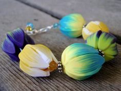 Tulip Garden Bracelet polymer clay bracelet by BlueMerlinCreations