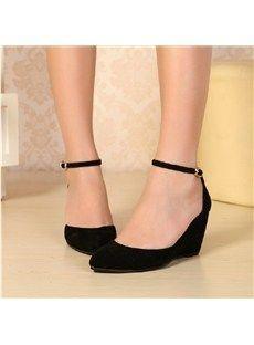 Elegant Suede Upper Wedge Heels Closed Toe Shoes