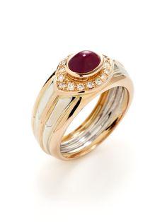 Ruby & Diamond Two-Tone Band Ring by Piranesi at Gilt