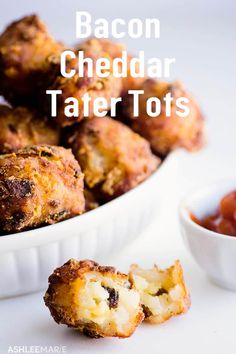 Bacon and Cheddar Tater Tots - yum! Homemade tater tots are easy to make and fun - fill with flavors like bacon and cheddar. Tater Tot Recipes, Bacon Recipes, Cooking Recipes, Kraft Recipes, Casserole Recipes, Bread Recipes, Yummy Recipes, Chicken Recipes, Snack Recipes