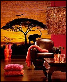 a sunset scene of charming giraffes and acacia trees create a calming view in the african - African Bedroom Decorating Ideas