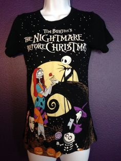 Nightmare Before Christmas Jack & Sally Fitted Babydoll Shirt Top Gothic Punk S