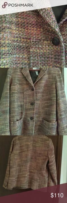 Vintage Liz Claiborne Jacket Gorgeous colors all through this lined button down jacket.  Originally over $300.  A few snags on sleeve as shown in picture ,4. Gently loved. Liz Claiborne Jackets & Coats Blazers