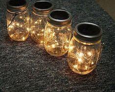 #MiniSolarLightsForCrafts Canning Jar Lights, Mason Jar Solar Lights, Mason Jar Lanterns, Mason Jar Lighting, Mason Jar Lamp, Solar Light Kit, Solar Light Crafts, Diy Solar, Copper Wire Lights