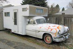 53 Pontiac housecar and 61 scad-a-bout. Slide In Camper, Popup Camper, Truck Camper, Rv Travel Trailers, Camper Trailers, Buick, Old Campers, Happy Campers, Canned Ham Camper