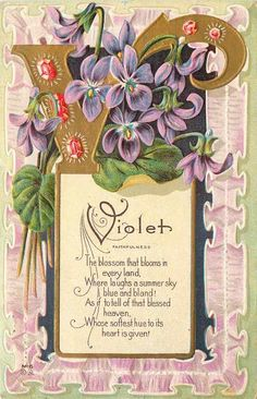 Violets Large Gold Letter V Red Gems Faithfulness Lavender Lace Emboss Nash M 6 | eBay In Victorian Flower Language, blue violets represent love. <3