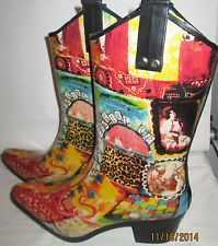 Size 10 CowGirl-Up Rain Bops by Beehive Rain Boots Crain 01.Rodeo Horse CowBoys