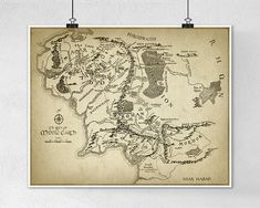 Lord of the Rings Map Wall Art Poster by QuantumPrints on Etsy