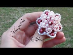 Beading Patterns Free, Beading Tutorials, Seed Bead Jewelry, Beaded Jewelry, Beaded Rings, Beaded Bracelets, Beaded Crafts, Flower Center, Earring Tutorial