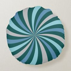 Easy Blues and Green Lollipop Swirl Round Pillow