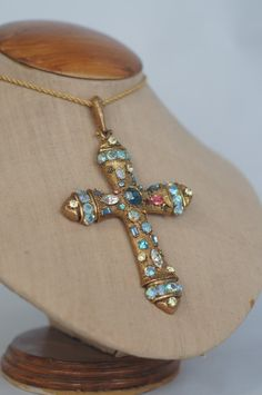 Vintage 1980's Gold Plated Cross Pendant