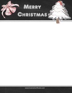 Page border with blackboard and clipart of a Christmas tree and two bells Free Christmas Printables, Free Printables, Free Christmas Borders, Border Templates, Page Borders, Merry Christmas, Clip Art, Backgrounds, Crafts