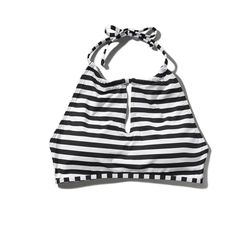 Abercrombie & Fitch Halter Scuba Swim Top ($11) ❤ liked on Polyvore featuring swimwear, bikinis, bikini tops, tops, black and white stripe, halter tankini tops, black and white bikini top, halter-neck bikinis, swimsuit tops and black and white halter bikini