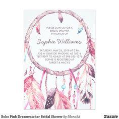 Boho Pink Dreamcatcher Bridal Shower Card