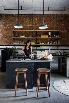 industrial style black kitchen