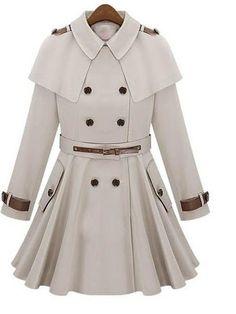 Casual Cool Stand Collar Cloak Cappa Belted Slim Coat