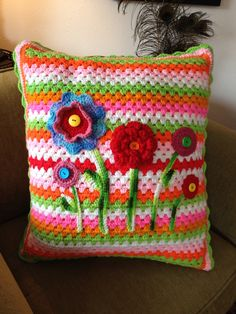 Garden crochet pillow.